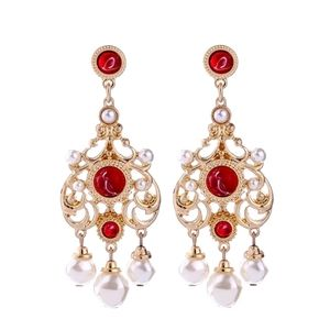 Red Rhinestone Pearl Vintage Drop Dangle Earrings